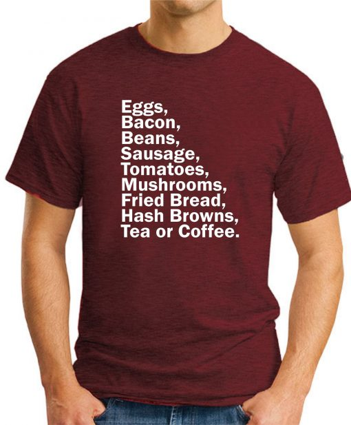 EGGS BACON BEANS SAUSAGE maroon