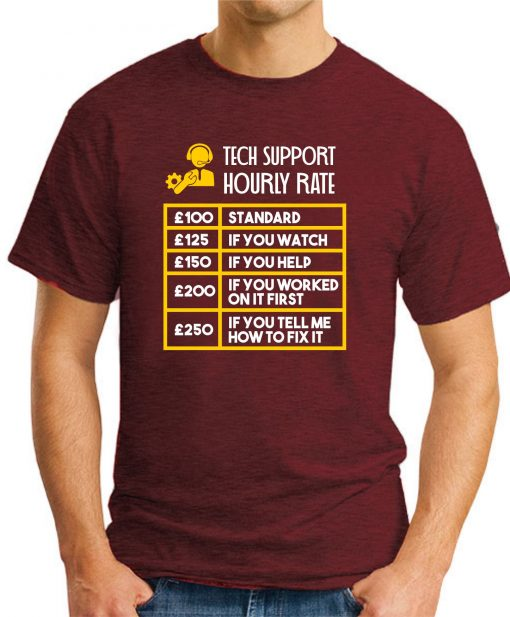 TECH SUPPORT HOURLY RATE maroon